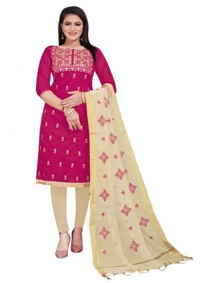 Pink Chanderi Embroidered Salwar Suit