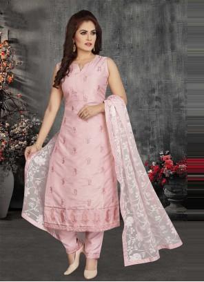 Pink Chanderi Fancy Readymade Suit