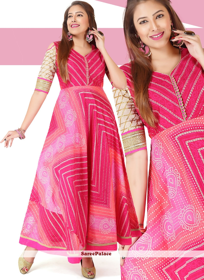 dd4a064e014 Buy Pink Chanderi Print Work Readymade Gown Online