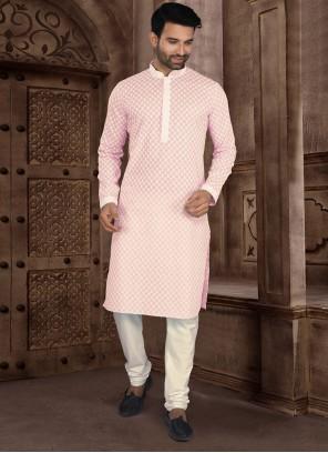 Pink Chikankari Work Kurta Pyjama