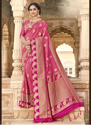 Pink Banarasi Silk Classic Designer Saree