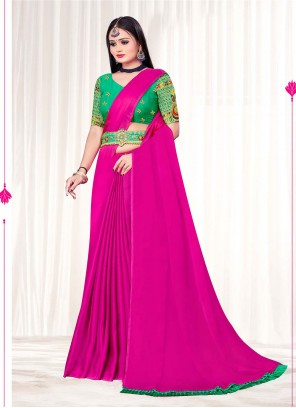 Pink Faux Chiffon Classic Designer Saree