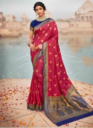 Pink Color Fancy Work Silk Classic Saree