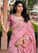 Pink Color Classic Saree