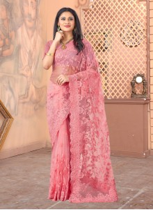Pink Color Embroidered Designer Saree