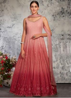 Pink Color Floor Length Anarkali Suit