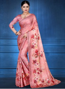 Pink Color Printed Saree