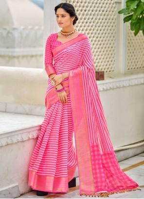 Pink Color Cotton Printed Saree