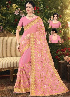 Pink Color Net Embroidered Trendy Saree