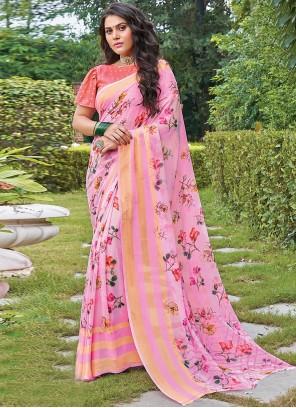 Pink Color Georgette Trendy Saree