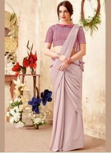 Pink Cord Lycra Trendy Saree