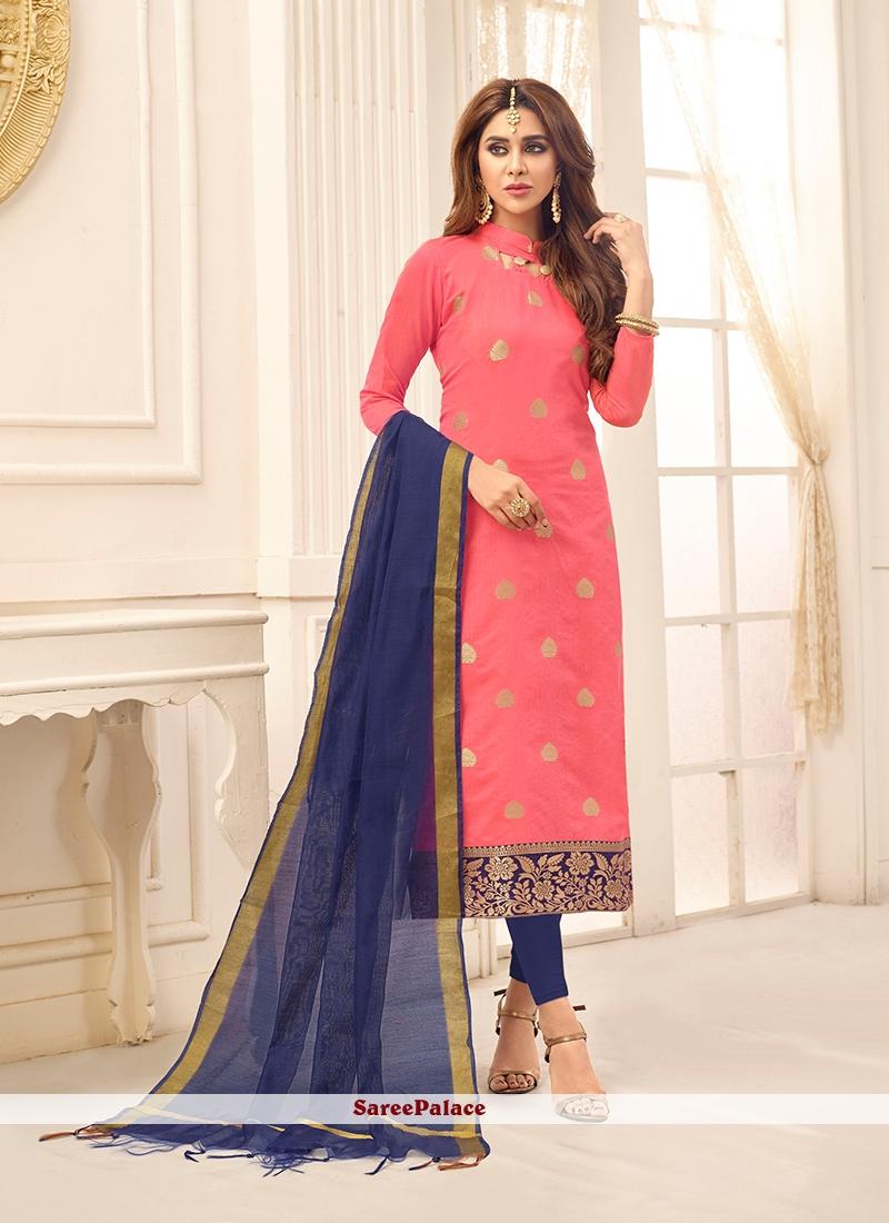 4cc482927b Buy Pink Cotton Churidar Suit Online