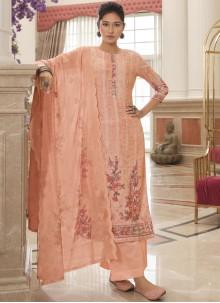 Pink Cotton Designer Palazzo Salwar Kameez
