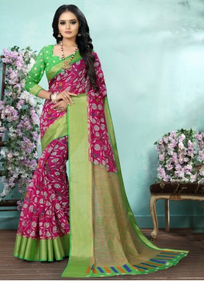 Pink Cotton Digital Print Saree