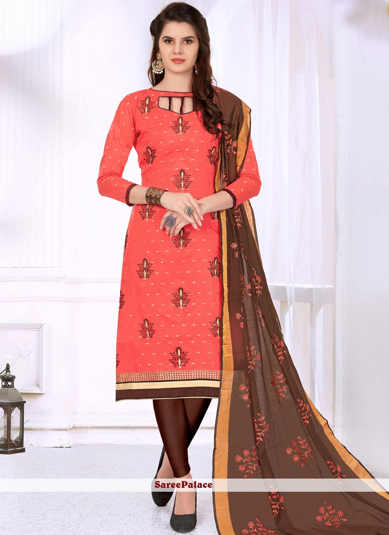 44407a5a0e Buy Pink Cotton Embroidered Churidar Suit Online