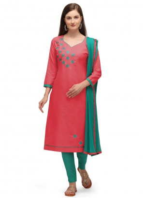 Pink Cotton Embroidered Churidar Suit
