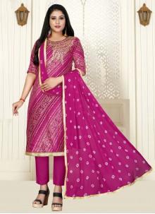Pink Cotton Embroidered Designer Salwar Suit