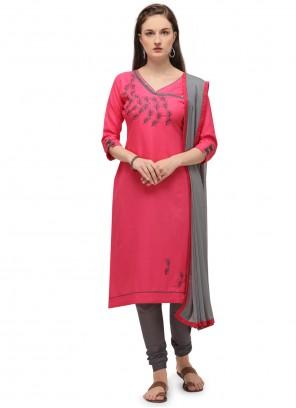 Pink Cotton Festival Churidar Designer Suit