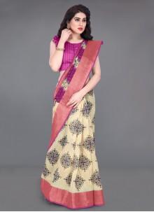 Pink Cotton Festival Printed Saree