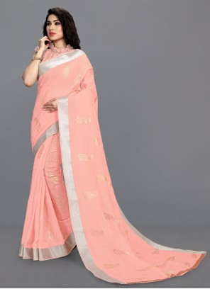 Pink Cotton Festival Printed Saree