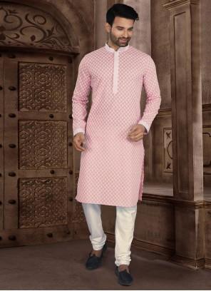 Pink Cotton Mehndi Kurta Pyjama