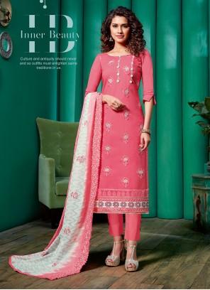 Pink Cotton Mehndi Pant Style Suit