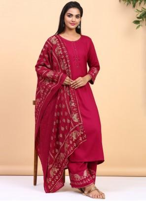 Pink Cotton Palazzo Salwar Suit