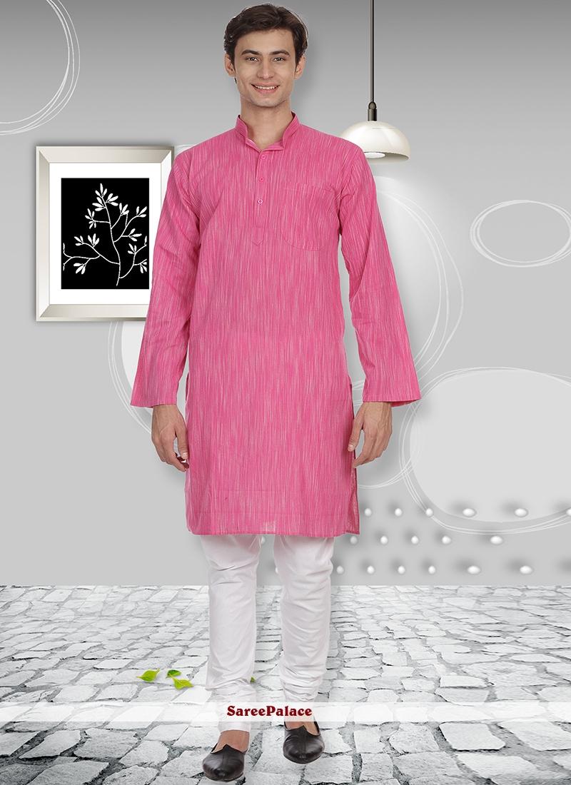 Pink Cotton Plain Kurta Pyjama
