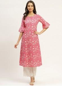 Pink Cotton Print Party Wear Kurti