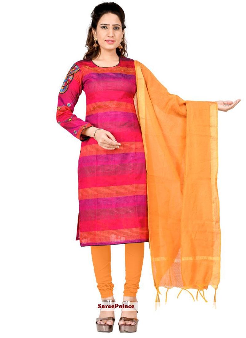 Pink Cotton Salwar Kameez