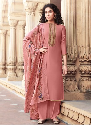 Pink Cotton Silk Designer Palazzo Salwar Suit