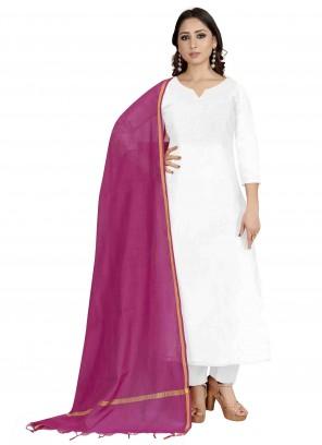 Pink Cotton Silk Plain Designer Dupatta