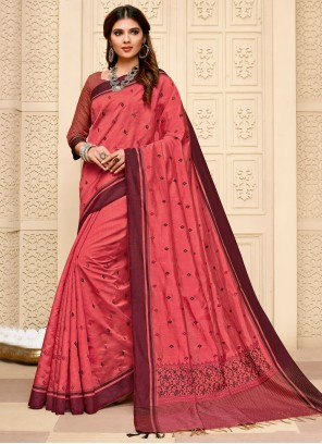 Pink Cotton Silk Reception Classic Saree