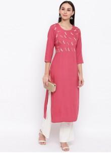 Pink Cotton Thread Casual Kurti