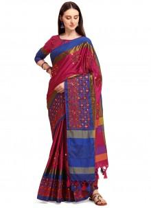 Pink Cotton Traditional Saree
