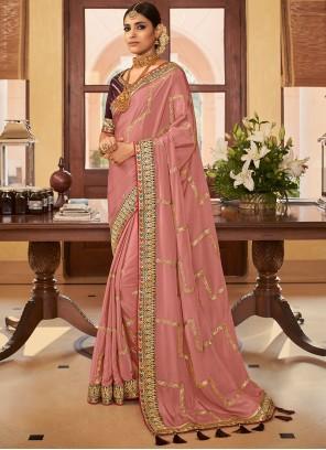 Pink Crepe Silk Classic Designer Saree