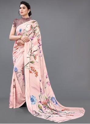 Pink Digital Printed Designer Saree