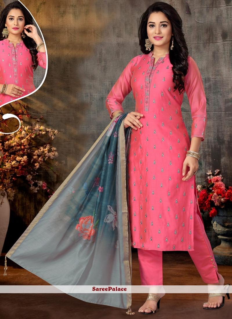 Pink Embroidered Designer Suit