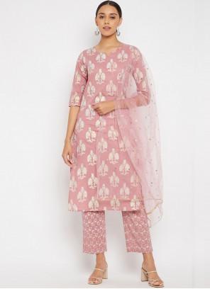 Pink Fancy Work Rayon Designer Suit