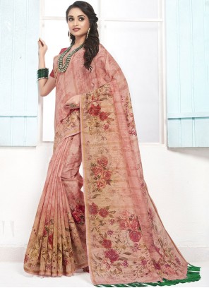 Pink Digital Print Cotton Designer Traditional Saree