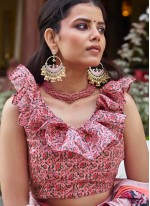 Pink Digital Print Fancy Fabric Traditional Saree