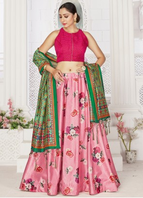 Pink Digital Print Satin Readymade Lehenga Choli