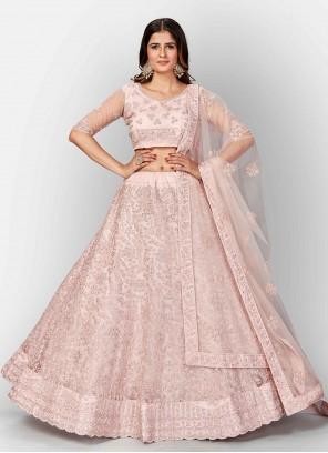 Pink Dori Work Net Lehenga Choli