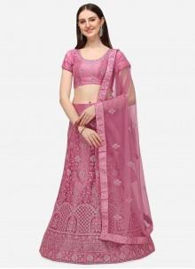 Pink Embroidered A Line Lehenga Choli