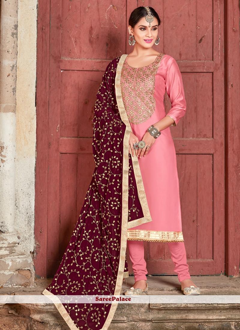 Pink Embroidered Art Silk Churidar Designer Suit