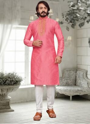 Pink Embroidered Art Silk Kurta Pyjama