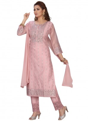 Pink Embroidered Ceremonial Readymade Suit