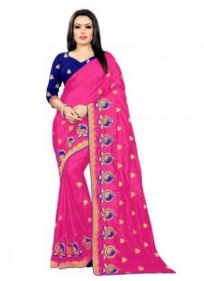 Pink Embroidered Classic Designer Saree