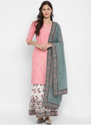 Pink Embroidered Cotton Readymade Suit