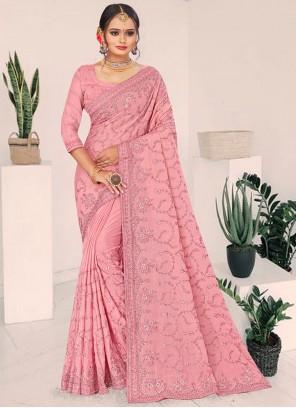 Pink Embroidered Faux Chiffon Designer Saree